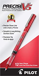 PILOT Precise V5 Stick Liquid Ink Rolling Ball Stick Pens, Extra Fine Point, Red Ink, 12 Count (35336)