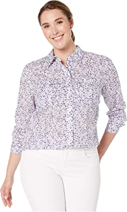 042a27a7 Silk White Multi. 2. LAUREN Ralph Lauren. Plus Size Floral-Print Cotton  Voile Shirt