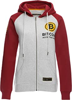 Cointelegraph Fleece Zip Hoodie Bitcoin Accepted Here Unisex | Cryptocurrency Blockchain (Red)
