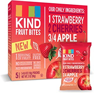 KIND Fruit Bites Fruit Snacks, Strawberry Cherry Apple, No Sugar Added, Gluten Free, .6oz, 40 Count