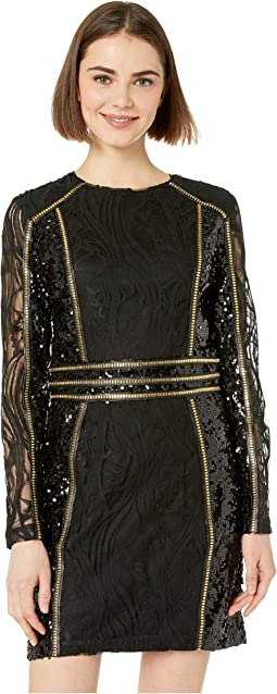 Mesh Embellished Mini Dress