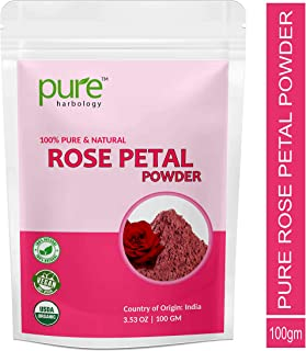 Pure Herbology Pure and Natural Double Filtered Rose Petal Powder For Skin, Face Pack Mask for Fairness, Tanning & Glowing Skin, 100gm