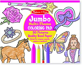 "Melissa & Doug Jumbo 50-Page Kids' Coloring Pad Paper; 11"" x 14"" Oversized Sheets; Horses, Hearts, Flowers, and More, Great Gift for Girls and Boys - Best for 3, 4, 5 Year Olds and Up)"
