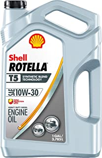 Rotella T5 Synthetic Blend Diesel Motor Oil 10W-30, 1 Gallon - Pack of
