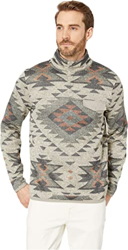 Fleece Aztec Print Mock Neck Sweatshirt
