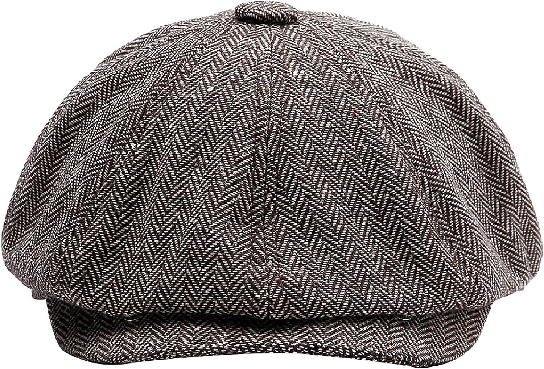 AOBRICON Autumn Winter Herringbone Newsboy Caps Men Beret Hat Warm Tweed Octagonal Hat Detective Hats Retro Flat Caps Unisex