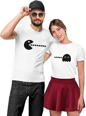 VIVAMAKE Camisetas para Parejas Mujer y Hombre Originales Divertidas con Diseño Pacman