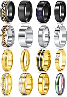 حلقه های ساده Fidget از جنس استیل ضد زنگ برای مردان مردانه حلقه های اسپینر سرد ، حلقه حلقه اضطراب مد ، حلقه حلقه عروسی مشکی/طلایی/نقره ای راحت راحتی سایز 7-11