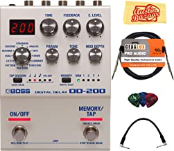 BOSS DD-200 Digital Delay Pedal Bundle with Instrument Cable, Patch Cable, Picks, and Austin Bazaar Polishing Cloth