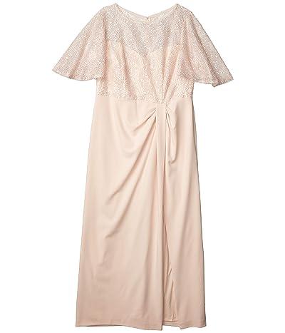 Adrianna Papell Plus Size Flutter Sleeve Gown (Light Blush) Women