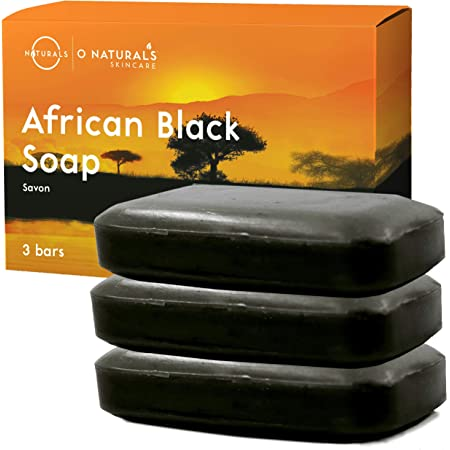O Naturals 3 Bars African Black Soap Acne Problematic Skin Organic Ingredients Luxurious Texture Triple Milled Bar Soap Moisturizing Shea Butter Natural Vegan Body & Face Soap Men-Women 12 oz Total