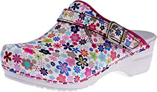 Sanita | Little Flower | Open Clog | Original Handmade for Women | Anatomically Shaped Footbed in Soft Foam | Heel Strap