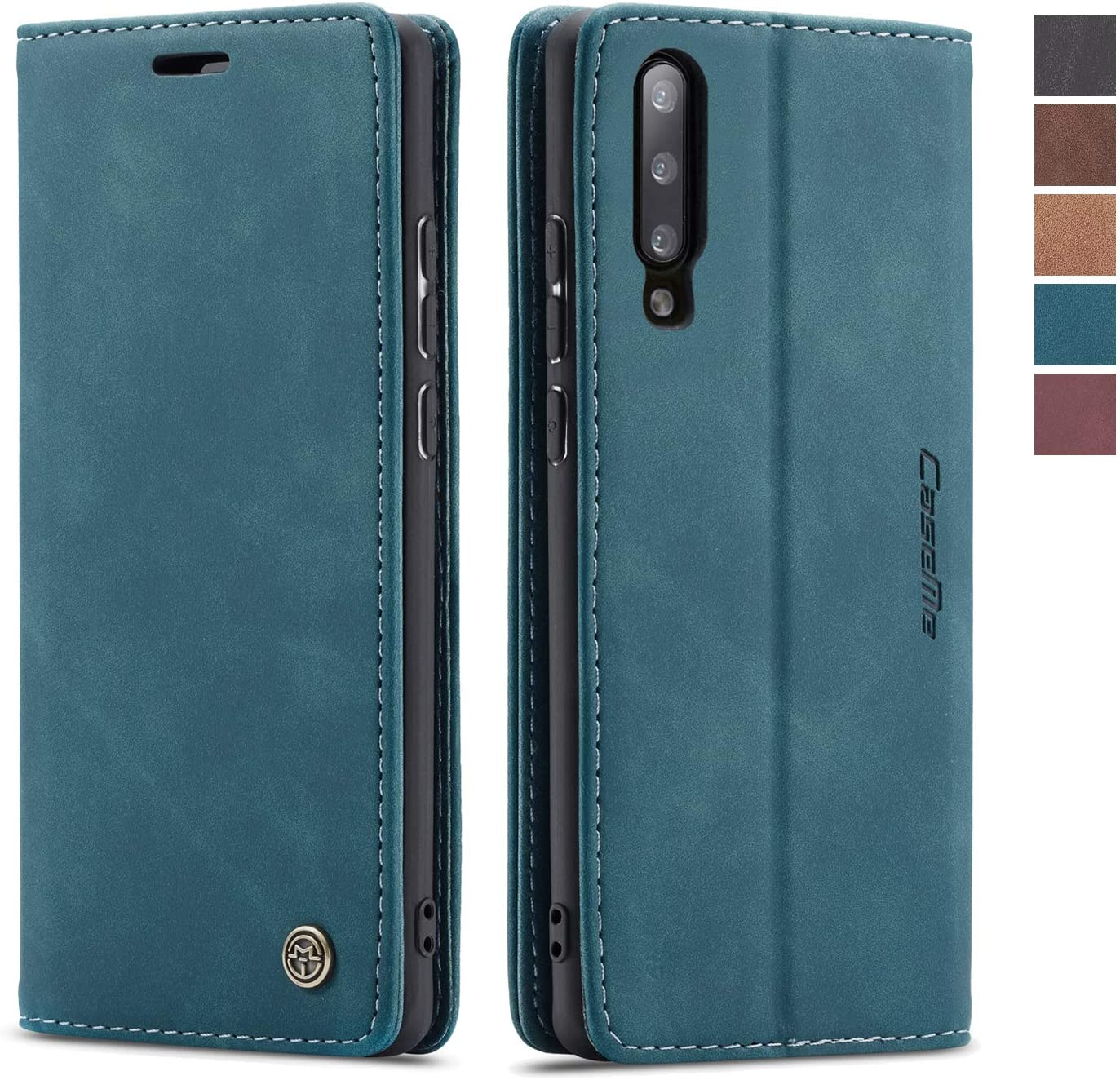 SENSKO Samsung Galaxy A50 Wallet Case,Magnetic Stand Flip Protective Cover Book Style Retro Leather Flip Cover Durable Shockproof Protective Case for Samsung Galaxy A50(Blue)