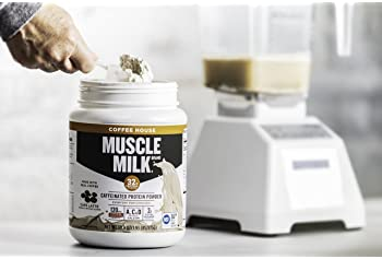 Muscle Milk Coffee House Caffeinated Protein Powder, Cafe Latte,  32g Protein, 1.93 Pound