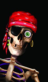 Window Poster Halloween Peppy the Pirate Skull by WOWindows USA-made Decoration Includes 1 Reusable 34.5