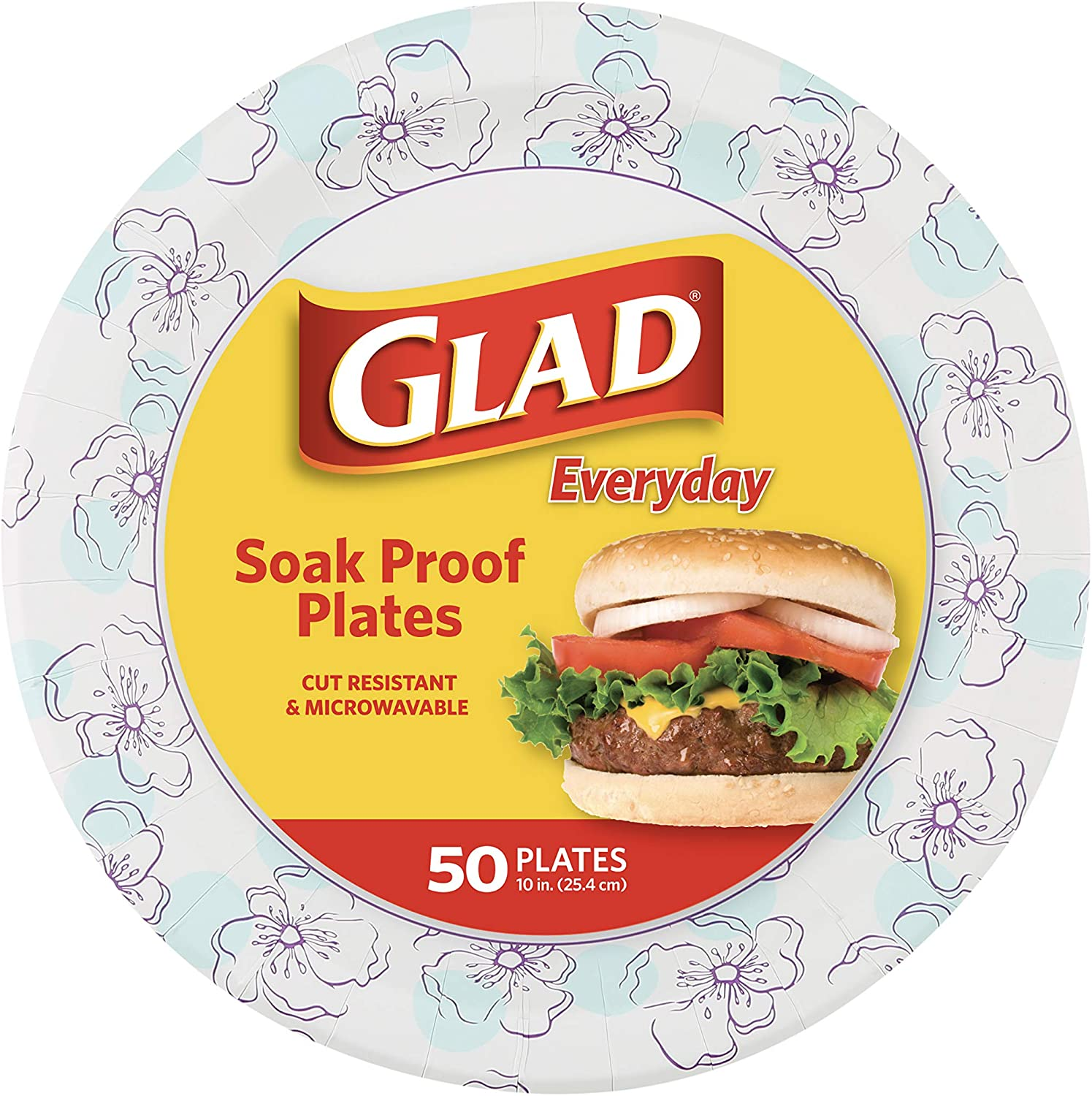Glad Round Disposable Paper Plates 10 Blue Proof in 5 ☆ popular Flower Soak New arrival