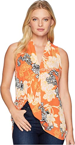 Sleeveless Printed Floral V-Neck Top