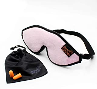 Dream Essentials Escape Luxury Sleep Mask Kit with Eye Cavities, Earplugs and Carry Pouch - Light Pastel Pink, Gift Set