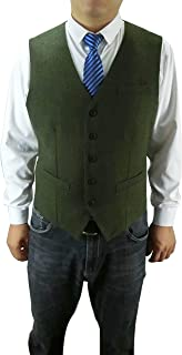 Anlyimeg Men's 5 Button Wool Blend Tweed Herringbone Full Back Vest