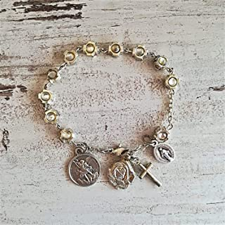 One Decade Rosary Bracelet with Saints Medals/St Michael/St Therese/Catholic Confirmation Gift