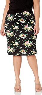 Star Vixen Women's Plus Size Knee Length Washable Stretch Faux Suede Classic Pencil Skirt with Back Slit