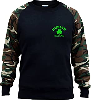 Interstate Apparel Mens Drink Well With others V506 Black//Camo Raglan Baseball Sweatshirt Black
