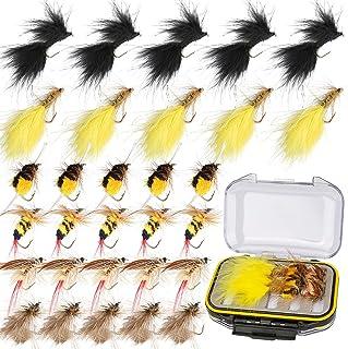 Ertisa Moscas para Pesca con Mosca, 30 Piezas Juego De Seuelos De Pesca con Mosca Aparejo con Caja Estuche Insecto Mariposa Cebos Artificiales De Pesca para Trucha Bajo con Ganchos De Acero