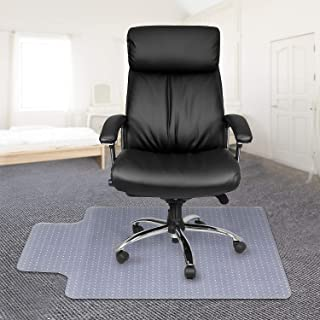 "Kuyal Office Chair Mat for Carpets,Transparent Thick and Sturdy Highly Premium Quality Floor Mats for Low, Standard and No Pile Carpeted Floors, with Studs (30"" X 48"" with Lip)"