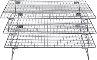 Checkered Chef Stainless Steel Stackable Cooling Racks - 3 Pack Stacking Cooling/Baking Racks - Each Rack 10 x 15 - Tiered...