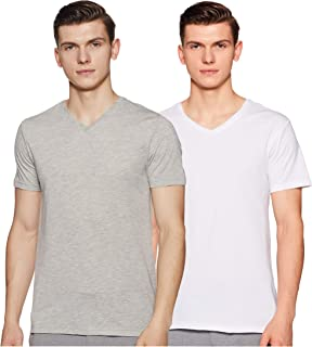 Amazon Brand - Symbol Men's Solid Regular Fit Half Sleeve Cotton T-Shirt (Combo Pack of 2)