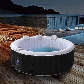 Arebos - Bañera de hidromasaje hinchable para exteriores - 6 personas - Redondo - 1000 litros - Piscina spa - Masaje, calefacción, bienestar