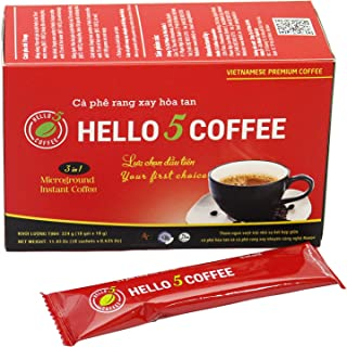 Hello 5 Coffee 3 in 1 (18 Sachets x 0.635 Oz)- Micro-ground Instant Coffee 3 in 1 - Premium Vietnamese Coffee - More taste, more creative - your first choice