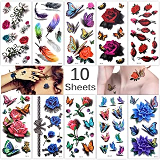 Lady Up 10 Sheets Temp Body Art Temporary Tattoos 3D Fake Tattoo for Women Girls Kids Butterfly Flower Rose Feather Pattern Waterproof Stickers