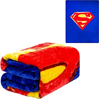 """JPI Plush Throw Blanket - Superman Shield - Queen Bed 79""""x 95"""" - Faux Fur Blanket for Beds, Sofa, Couch, Picnic, Camping"""
