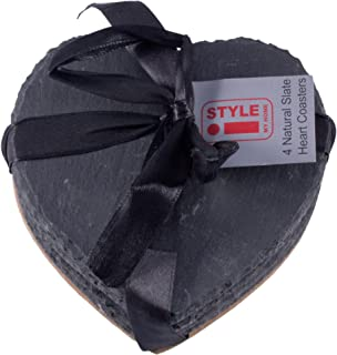 iStyle Natural Slate Heart Shaped Drinks Coasters - Set of 4