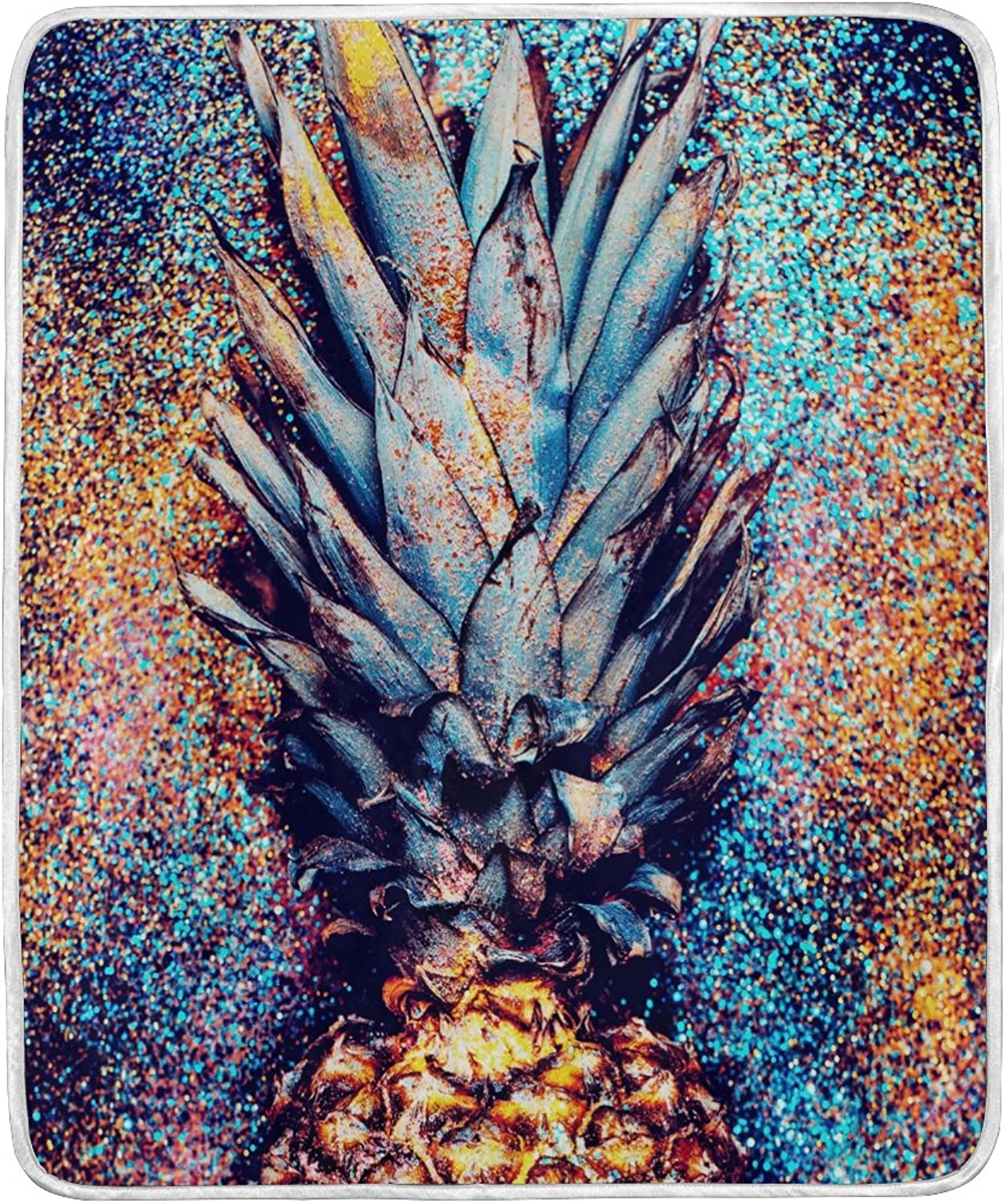 ALAZA Home Decor Glitter Abstract Pineapple Fruit Blanket Soft Warm Blankets for Bed Couch Sofa Lightweight Travelling Camping 60 x 50 inch Throw Size for Kids Boys Women