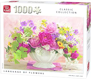 King Classic Collection Language Flowers 1000 pcs Puzzle - Rompecabezas (Puzzle Rompecabezas, Paisaje, Adultos, Hombre/Mujer, 8 año(s), Cartón)