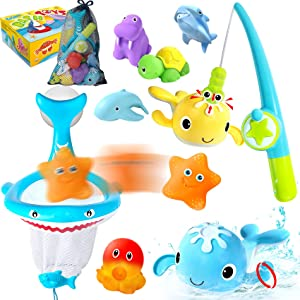 PATIFEED Bath Toys for Age 3 4 5 6 7 8+ Years Old Kids Boys Girls Toddlers - Fishing Game with Net Baby Bathtub Pool Toys, Wind Up Whale Floating Squirt Water Table Toys Gifts for Birthday Christmas