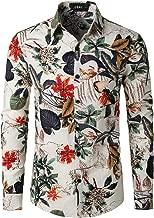 JOGAL Men's Flower Paisley Cotton Long Sleeve Casual Button Down Shirt
