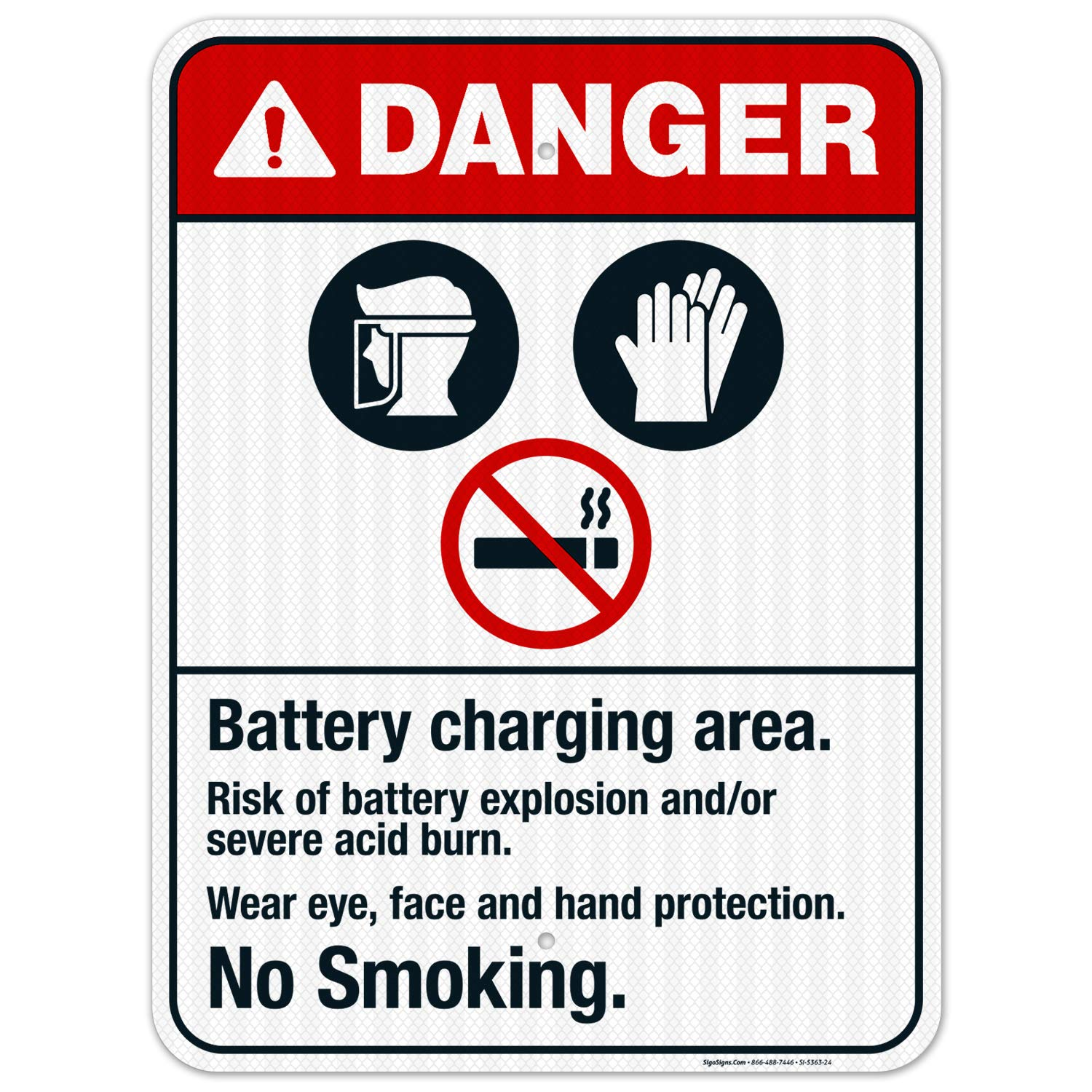 Sales results No. 1 Battery Charging Area Risk Max 57% OFF of Explosion ANSI Dange Sign