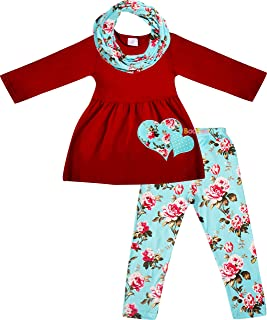 Amor Bee Girls Valentine's Day Love Hearts Tunic Legging Scarf Set - 3pc Outfit Scarf Set