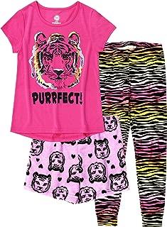 Wonder Nation Girls 3 pc Pajama Set- Top, Shorts & Jogger Pants