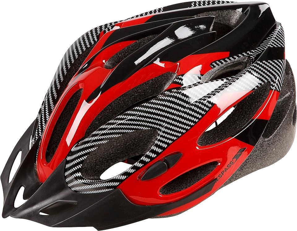 Trespass Adult Bike Helmet Cycle Safety Lightweight Design Specialized for Men Women with Detachable Visor, Adjustable Fit, Multiple Colours Red, White & Black Crankster