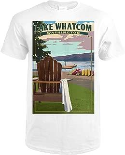 Lake Whatcom, Washington - Adirondack Chairs 49129 (Premium White T-Shirt Large)