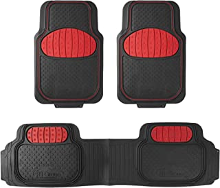 FH Group F11500RED Red Heavy Duty Touchdown Rubber Floor Mat Full Set Trim to Fit