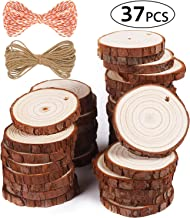 """5ARTH Natural Wood Slices - 37 Pcs 2.0""""-2.4"""" Craft Unfinished Wood kit Predrilled with Hole Wooden Circles for Arts Wood S..."""