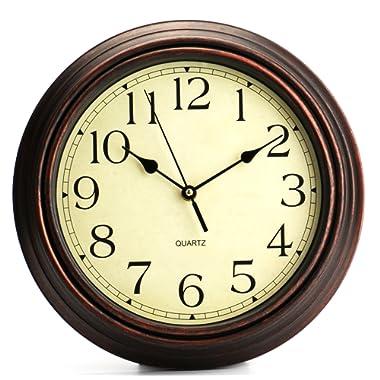 Bekith 12-Inch Round Classic Clock Retro Non Ticking Quartz Decorative Wall Clock