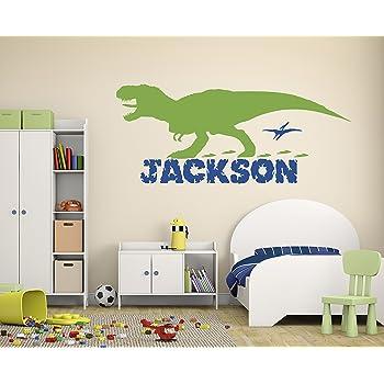 Personalised Dinosaur Name Wall Sticker Decal childrens Kids Nursery vinyl v05