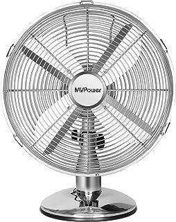 Ventilador de mesa MVPower, ventilador de escritorio de 12 pulgadas, diámetro de 34,5 cm con 3 niveles de velocidad, oscilación conmutable de 75 °, 35 W, metal cromado