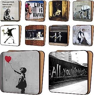 BANKSY Print Coasters Pack of 10 - NEW Art Coasters Furniture, Dinnerware Sets 11cm x 11cm